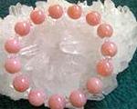 ピンクオパールグレードAAAA10mm玉ダイヤカット水晶ブレスレット